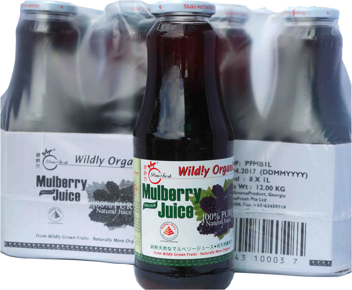 有機桑葚汁8瓶(1升裝)PomeFresh 100% Original Mulberry Juice 1 Carton (1L X 8)