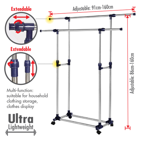 Telescopic Double Pole Stainless Steel Clothes Hanger