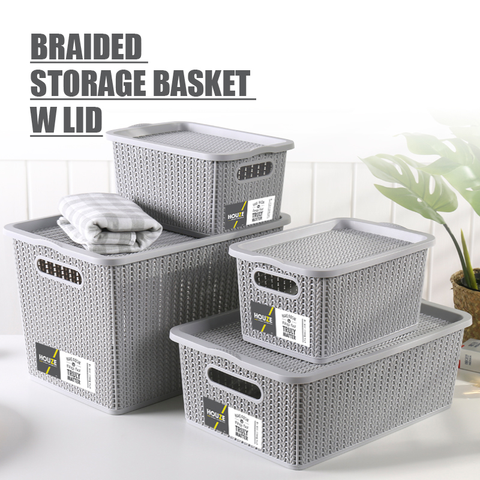 Braided Storage Basket with Lid (Large)