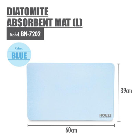 HOUZE - Diatomite Absorbent Mat (Large) - Blue - HOUZE - The Homeware Superstore