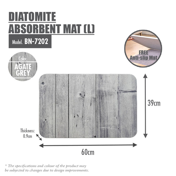 Slatted Wood Diatomite Mat (Agate Grey)