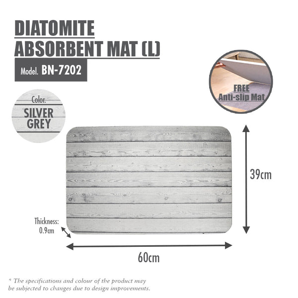 Slatted Wood Diatomite Mat (Silver Grey)