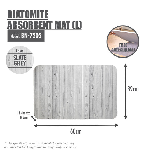 Slatted Wood Diatomite Mat (Slate Grey)