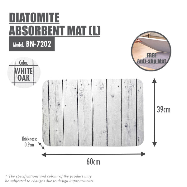 Slatted Wood Diatomite Mat (White Oak)