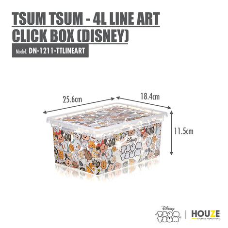 [3 For $19.90] Tsum Tsum - 4L Line Art Click Box (Disney)