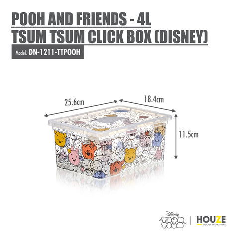 [3 For $19.90] Pooh and Friends - 4L Tsum Tsum Click Box (Disney) - HOUZE - The Homeware Superstore