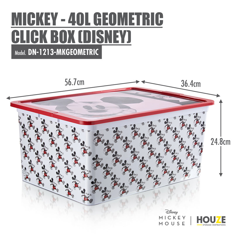 [3 For $99] Mickey - 40L Geometric Click Box (Disney) - HOUZE - The Homeware Superstore