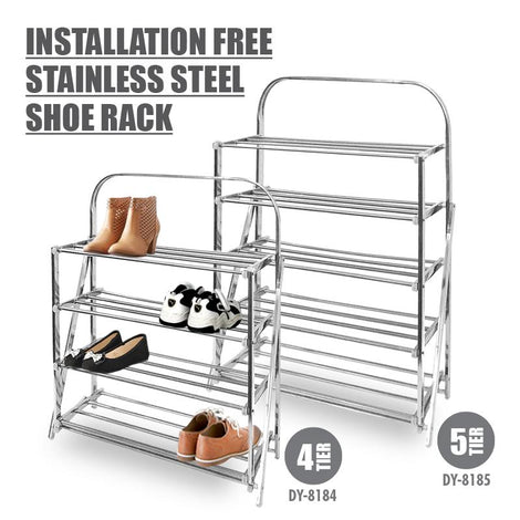 HOUZE 4 Tier Installation Free Stainless Steel Shoe Rack