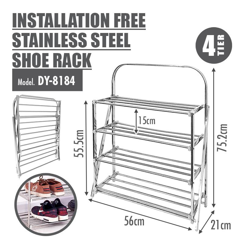 HOUZE - 4 Tier Installation Free Stainless Steel Shoe Rack