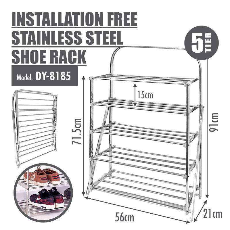 HOUZE - 5 Tier Installation Free Stainless Steel Shoe Rack - HOUZE - The Homeware Superstore