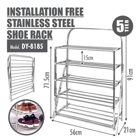 HOUZE 5 Tier Installation Free Stainless Steel Shoe Rack