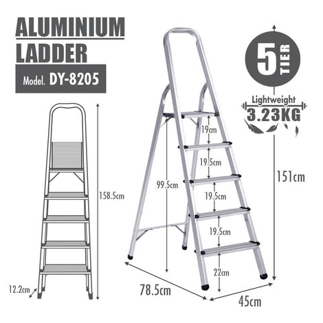 HOUZE Aluminium 5 Tier Ladder