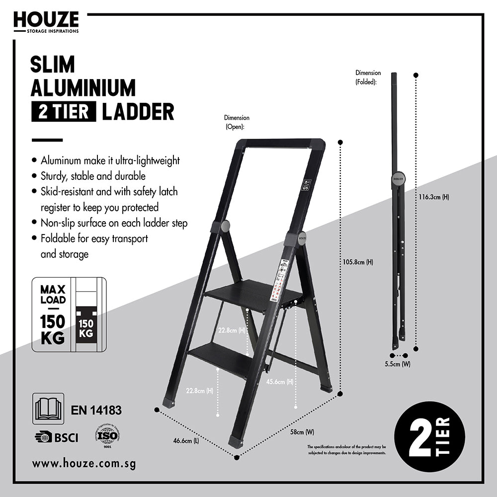 HOUZE - 'SLIM' Aluminium 2 Tier Ladder - HOUZE - The Homeware Superstore