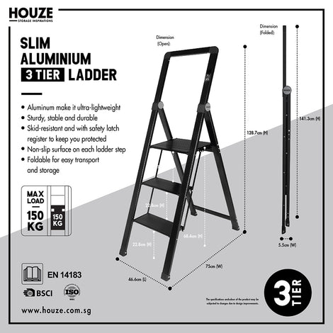 HOUZE - 'SLIM' Aluminium 3 Tier Ladder - HOUZE - The Homeware Superstore