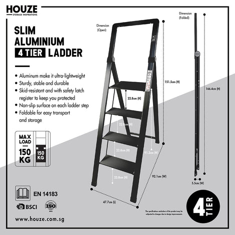 HOUZE - 'SLIM' Aluminium 4 Tier Ladder - HOUZE - The Homeware Superstore