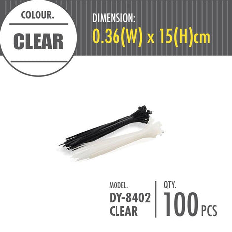 HOUZE - Cable Tie - Clear (Dim: 0.36 x 15cm) - HOUZE - The Homeware Superstore