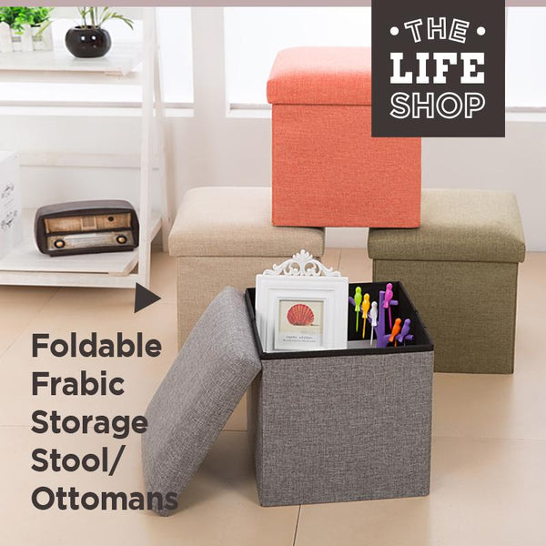 Foldable Fabric Storage Stool/Ottomans - 37cm (Grey) - HOUZE - The Homeware Superstore