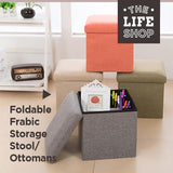 Foldable Fabric Storage Stool/Ottomans - 37cm (Grey)