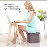 Foldable Fabric Storage Stool/Ottomans - 37cm (Khaki)