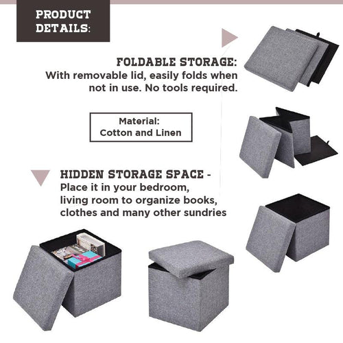 Foldable Fabric Storage Stool/Ottomans (Grey) - HOUZE - The Homeware Superstore