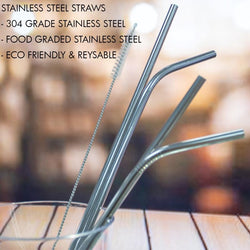 HOUZE - Stainless Steel Straw - Set of 4 (Steel) - HOUZE - The Homeware Superstore