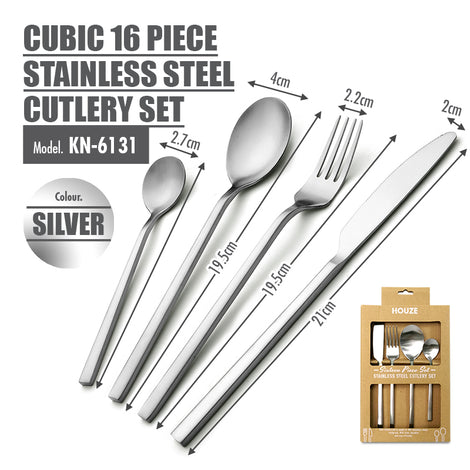 Cubic 16 Piece Stainless Steel Cutlery Set (Matt Silver) - HOUZE - The Homeware Superstore
