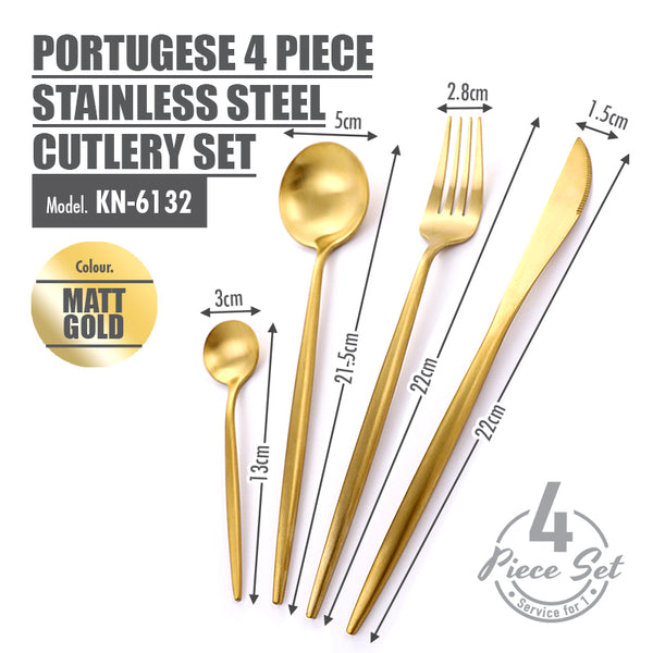 Portugese 4 Piece Stainless Steel Cutlery Set (Matt Gold) - HOUZE - The Homeware Superstore