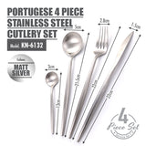 Portugese 4 Piece Stainless Steel Cutlery Set (Matt Silver) - HOUZE - The Homeware Superstore