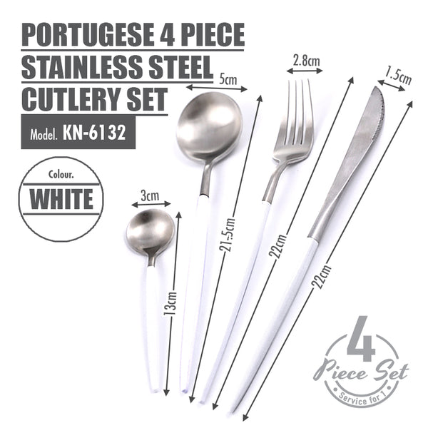 Portugese 4 Piece Stainless Steel Cutlery Set (White) - HOUZE - The Homeware Superstore