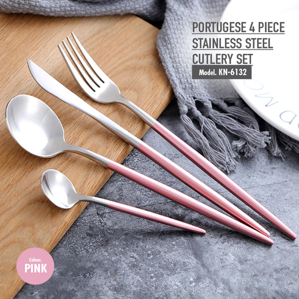 Portugese 4 Piece Stainless Steel Cutlery Set (Pink) - HOUZE - The Homeware Superstore