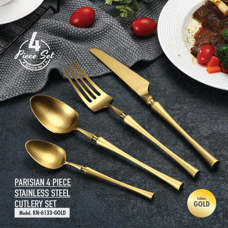 Parisian 4 Piece Stainless Steel Cutlery Set (Gold) - HOUZE - The Homeware Superstore