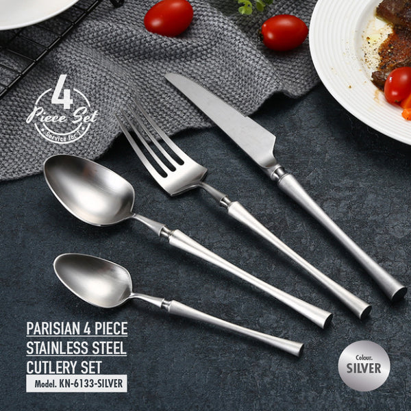 Parisian 4 Piece Stainless Steel Cutlery Set (Silver) - HOUZE - The Homeware Superstore