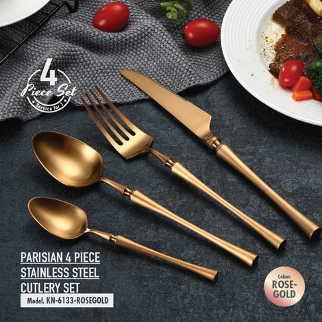 Parisian 4 Piece Stainless Steel Cutlery Set (Rose Gold) - HOUZE - The Homeware Superstore