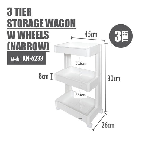 HOUZE 3 Tier Storage Wagon with Wheels (Narrow)