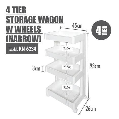 HOUZE 4 Tier Storage Wagon with Wheels (Narrow)