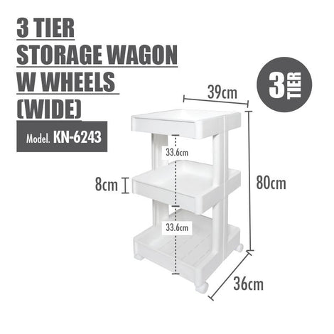 HOUZE - 3 Tier Storage Wagon with Wheels (Wide)