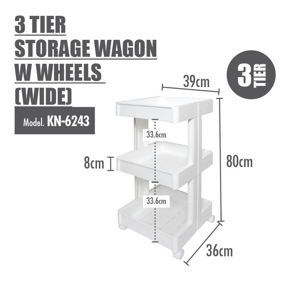 HOUZE - 3 Tier Storage Wagon with Wheels (Wide) - HOUZE - The Homeware Superstore