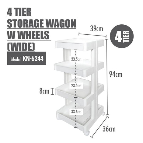 HOUZE - 4 Tier Storage Wagon with Wheels (Wide)