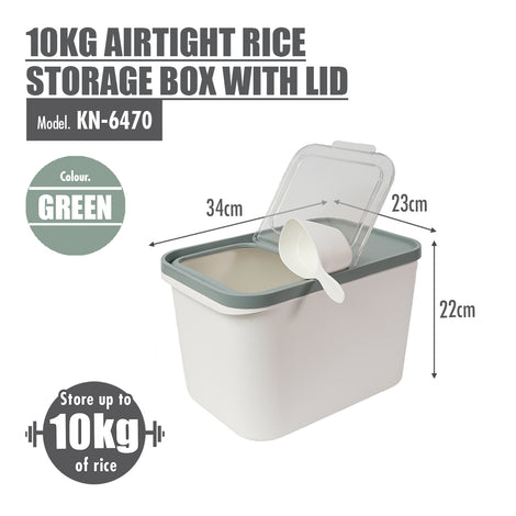 10kg Airtight Rice Storage Box With Lid (Dim: 34x23x22cm) - HOUZE - The Homeware Superstore
