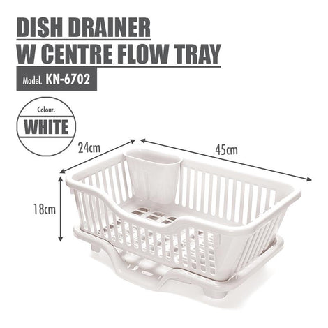 HOUZE - Dish Drainer with Centre Flow Tray - HOUZE - The Homeware Superstore