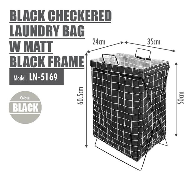 HOUZE - Black Checkered Laundry Bag with Matt Black Steel Frame - HOUZE - The Homeware Superstore