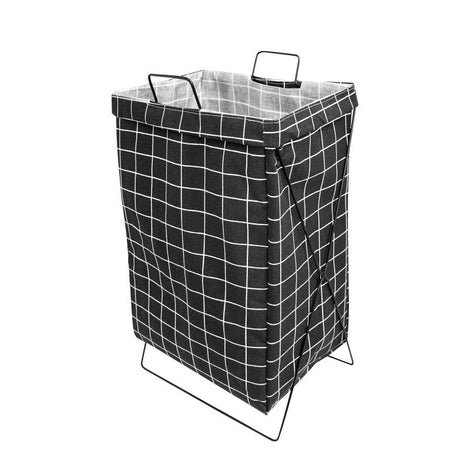 HOUZE - Black Checkered Laundry Bag with Matt Gold Steel Frame
