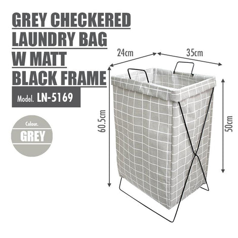 HOUZE - Grey Checkered Laundry Bag with Matt Gold Steel Frame