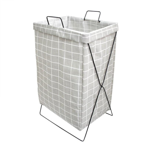 HOUZE - Grey Checkered Laundry Bag with Matt Gold Steel Frame - HOUZE - The Homeware Superstore