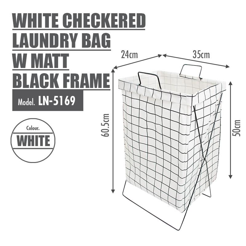 White Checkered Laundry Bag with Matt Gold Steel Frame - HOUZE - The Homeware Superstore