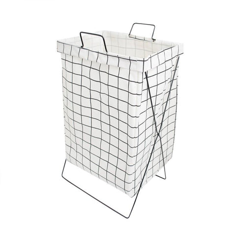 HOUZE - White Checkered Laundry Bag with Matt Gold Steel Frame - HOUZE - The Homeware Superstore