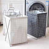 HOUZE - Black Checkered Laundry Bag with Matt Gold Steel Frame - HOUZE - The Homeware Superstore
