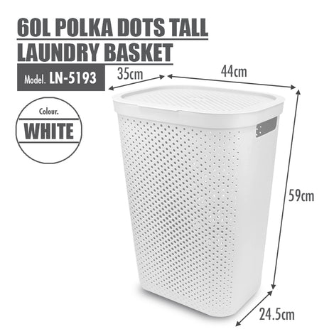 HOUZE - 60L Polka Dots Tall Laundry Basket (White) - HOUZE - The Homeware Superstore