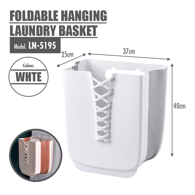 HOUZE - Foldable Hanging Laundry Basket (White) - HOUZE - The Homeware Superstore