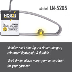 HOUZE - PVC Coated Metal Hanger (Set of 5) (Grey) - HOUZE - The Homeware Superstore